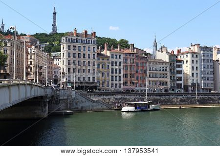LYON, FRANCE - MAY 24, 2015: This is river pier on the waterfront of the River Saone in the hill Fourviere.
