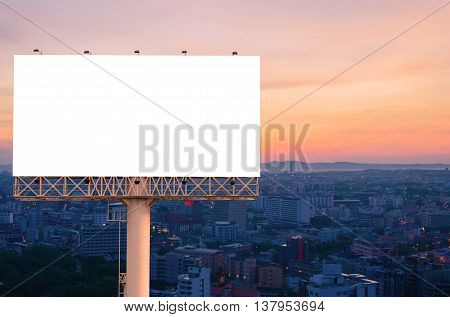 Blank Billboard For Advertisement With Sunrise In City