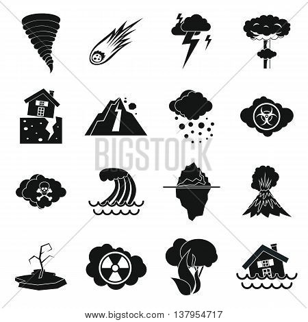 Natural disaster icons set in simple ctyle. Catastrophe and crisis set collection vector illustration