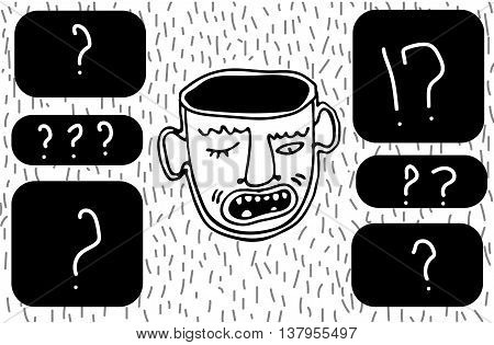 Adult angry man face and questions. Black and white doodles vector illustration.
