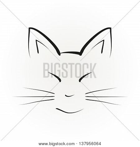 Silhouette of a cat face with big ears painted black brush strokes. Abstract illustration isolated vector.
