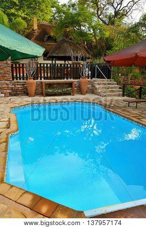 DAMARALAND NAMIBIA - FEB 04 2016: Swimming pool in Toko Lodge. Toko is the gateway to Western Etosha Damaraland and the unspoilt Kaokoveld