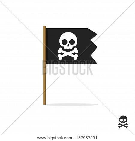 Pirate flag vector symbol flat icon, skull crossbones, bones shape label, illustration sign, shape badge isolated on white, danger and warning symbolic