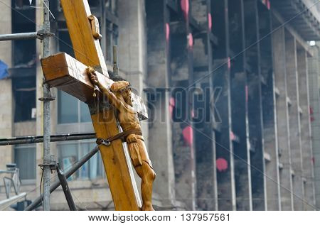 Crucifixion of Ukraine.Burned downtown of Kiev.Rioters camp. Putsch of junta in Kiev.April 19, 2014 Kiev, Ukraine