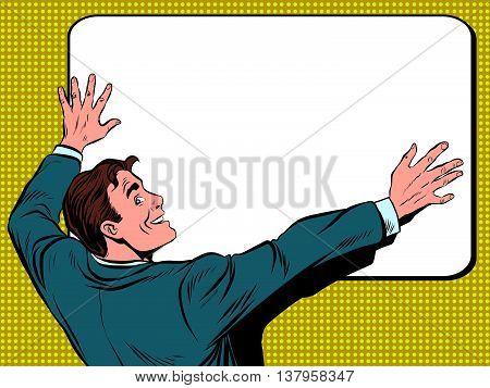 Retro man unfolds a poster pop art vector, realistic hand drawn illustration.
