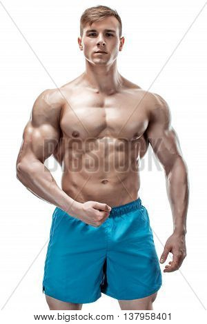 Strong Athletic Man showing muscular body and sixpack abs isolated on white background poster