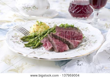 Point Steak with Green Asparagus and Mashed Potatoes