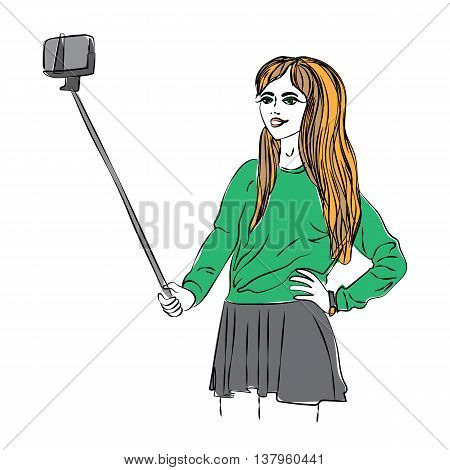 Girl makes selfie. Watercolor trendy art of girl making selfie with selfie stick. Camera for selfie photo. Beautiful pretty teenage girl.