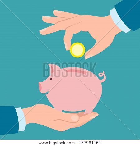 Hands with coin and piggy bank. Hand holding coin. Concept of savings, earnings. Collect to pig bank. Saving coins to piggy bank. White background.