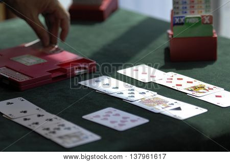 Cards and table set p for playing bridge