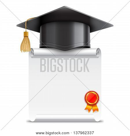 Graduation cap or mortar board and blank unrolled diploma scroll with stamp. Vector education icon isolated on white background