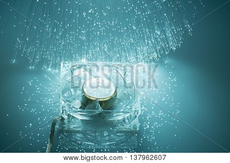 Computer fan and Fiber optics background