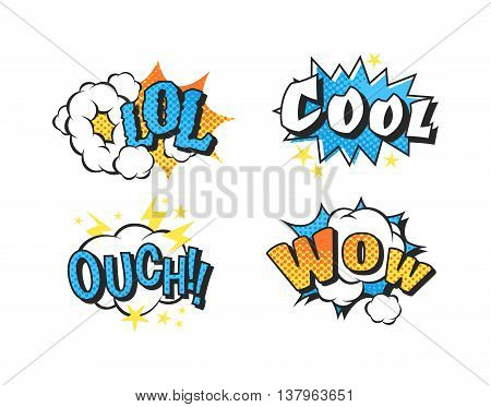 Pop art comic speech bubble boom effects vector. Bubble boom speech and pop explosion bang bubble boom. Communication cloud fun humor book splash element abstract funny balloon.