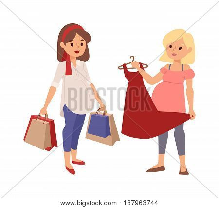 Young pregnant woman, pregnancy female belly expecting beautiful future mother character vector. Pregnant woman lifestyle and pregnant women lifestyle happy mathernity woman. Love parent motherhood.