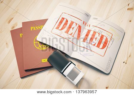 Passport with red denied visa stamp on wooden background. Topview. Travel concept 3D Rendering