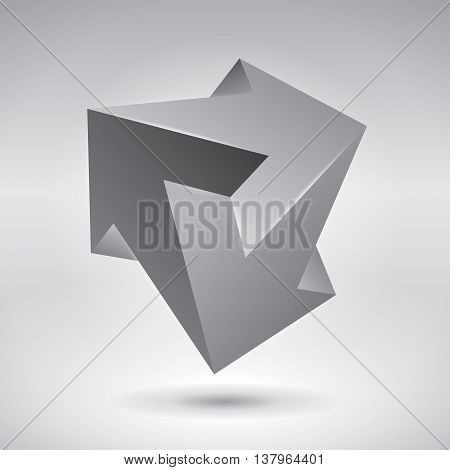 Vector crystal, 3 arrows, unreal object, design element, impossible arrows, vector design