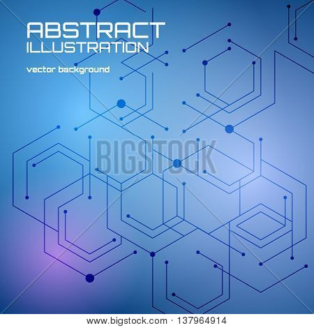Abstract blur technology background with lines and points. Modern data connection vector illustration. Network concept. Techno abstraction. Digital polygonal pattern.