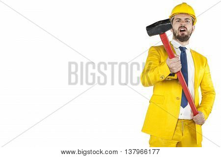 Copy Space Next To The Developer With A Big Hammer