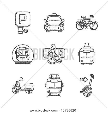 Set Of Vector Public Transport Icons In Ketch Style