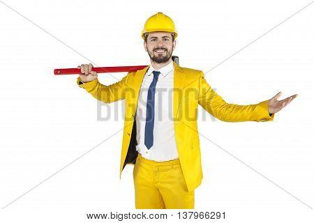Happy Builder Shows Gesture Of Success