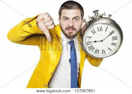 Businessman With A Thumb Down Sign Late