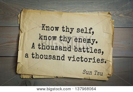 Ancient chinese strategist and philosopher Sun Tzu quote on old paper background. Know thy self, know thy enemy. A thousand battles, a thousand victories.