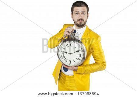 Businessman Shows Clock