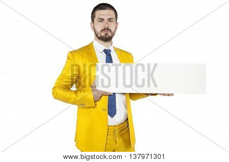 Young Businessman Holds In His Hands A Place On Your Advertising