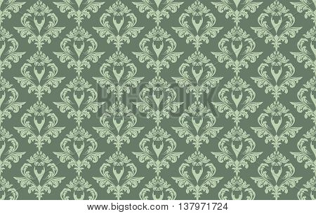 Vintage Damask floral classic pattern ornament. Vector background for cards web fabric textures tile mosaic. Green lint color
