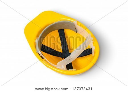 Yellow Safety Plastic Helmet Isolated On White Background. Upsid