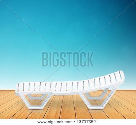 Single Plastic Deck-chair Beach Inventory On Wooden Floor