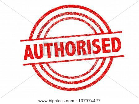AUTHORISED (British spelling) Rubber Stamp over a white background.
