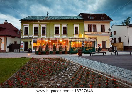 DOLNY KUBIN, SLOVAKIA - MAY 31, 2016: Main square of Dolny Kubin late in the evening on May 31, 2016.