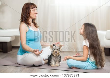 Pregnant Mother Meditating At Home With Her Daughter And Pet Dog