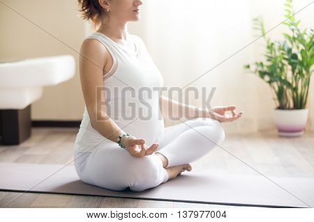Pregnant Yoga Woman Meditating. Close-up