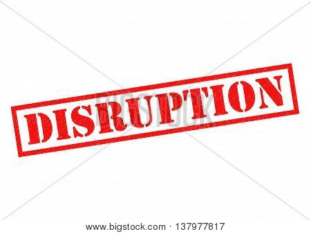 DISRUPTION red Rubber Stamp over a white background.