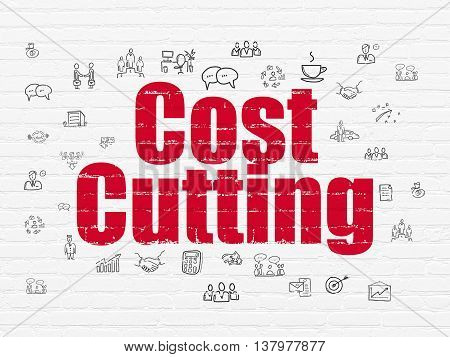Business concept: Painted red text Cost Cutting on White Brick wall background with  Hand Drawn Business Icons