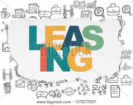 Business concept: Painted multicolor text Leasing on Torn Paper background with  Hand Drawn Business Icons