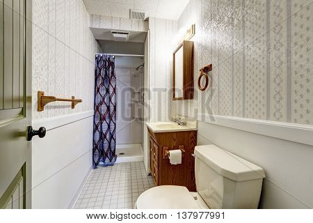 White Bathroom Interior With Tile Floor