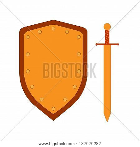 Set of sign shield and sword gold. Combat colorful icon isolated on white background. Flat mark. Symbol of a bronze elements. Logo for military and security. Stock vector illustration