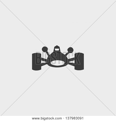 Bolide icon in a flat design in black color. Vector illustration eps10