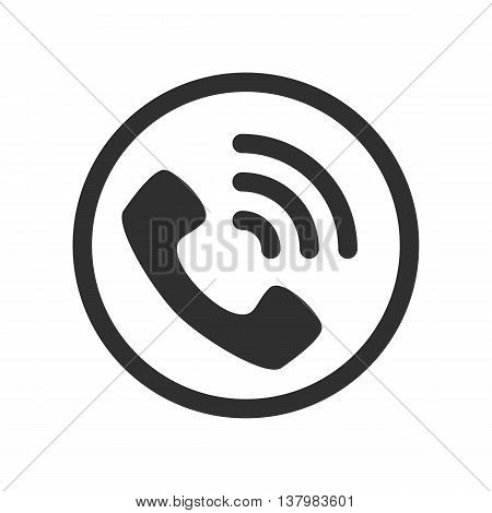 Vector phone icon. A black telephone receiver on a white background.
