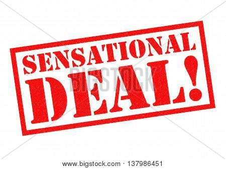 SENSATIONAL DEAL! red Rubber Stamp over a white background.