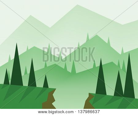 Abstract landscape design with green trees hills fog and a chasm flat style. Digital vector image.