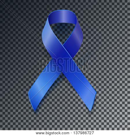 Awareness Blue Vector Ribbon Transparent Shadow