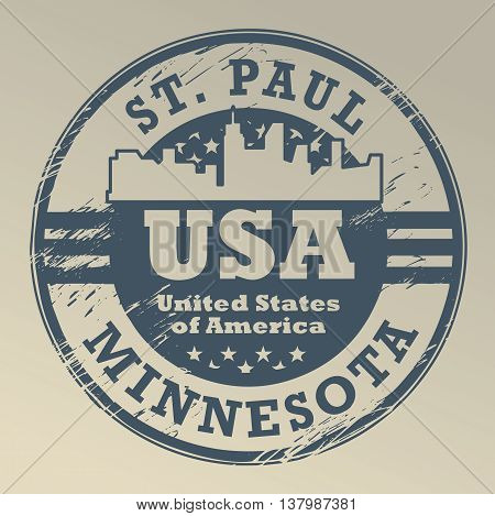 Grunge rubber stamp with name of Minnesota, St. Paul, vector illustration