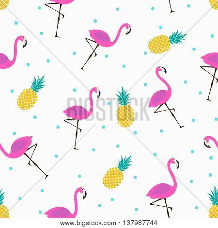 vector seamless pattern with pink flamingos and pineapples, bright summer pattern
