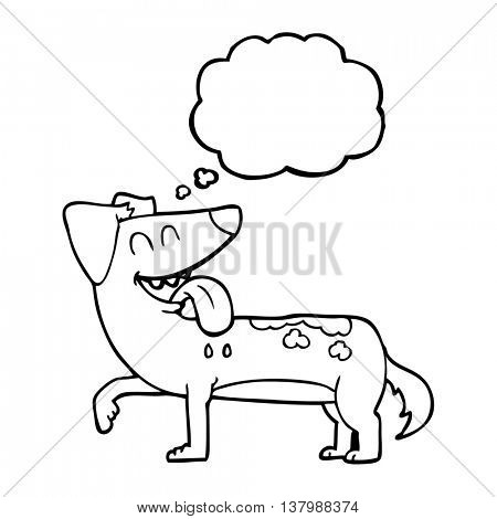 freehand drawn thought bubble cartoon panting dog