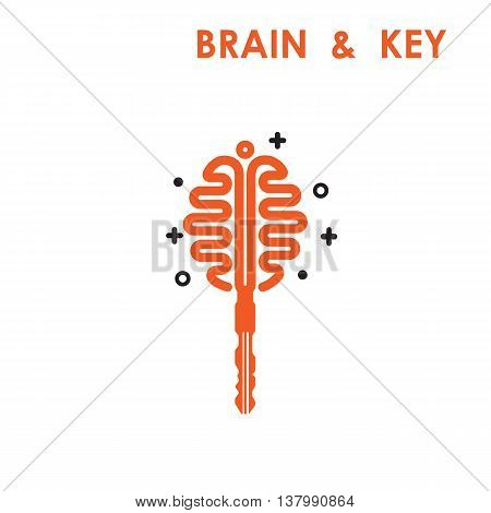 Creative brain sign with key symbol. Key of success concept.Inspiration or innovation idea.Keybrain and bulb logo design.Business and education idea concept.Vector illustration.