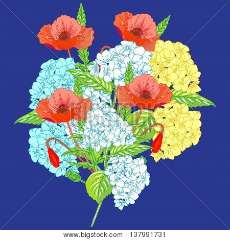 Beautiful summer flowers. A bouquet of hydrangeas and poppies on a bright blue background.